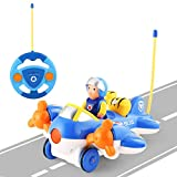OCDAY Remote Control Car Toy Airplane-Shaped RC Cartoon Car with Lights and Music for Toddlers Kids and Children