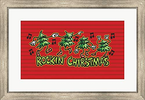 Rockin' Christmas by Jerry Gonzalez Framed Art Print Wall Picture, Silver Scoop Frame, 30 x 20 inches ()
