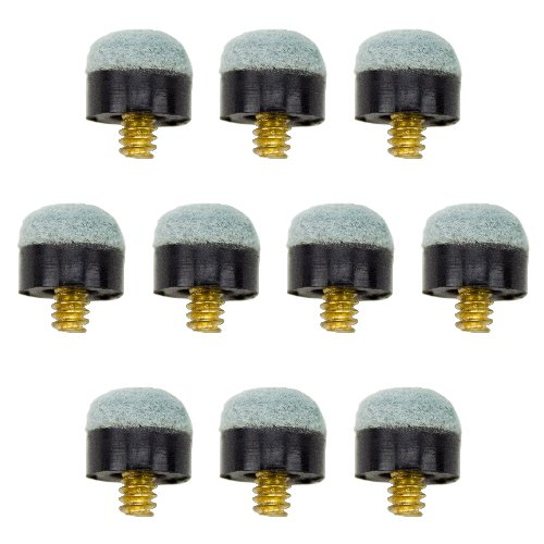 Lot of 10 12mm Soft-tip Brass Screw-on Pool Cue Tips by Felson Billiard Supplies (Cue Replacement Pool Tip)