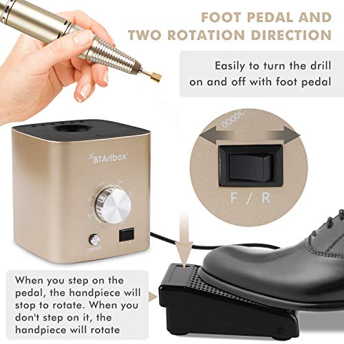 Nail Drill for Acrylic Nails - Professional Nail Drill Machine BTArtbox 30000 rpm Electric Efile Nail Drill for Gel… 4