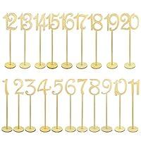 Números de mesa de 20 piezas, Jmkcoz 1 a 20 Números de mesa de boda de madera con una base de soporte resistente para la fiesta Decoración del hogar Cumpleaños de época Banquete de aniversario Decoración de madera natural Abastecimiento de catering