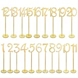 20pcs Table Numbers, Jmkcoz 1 to 20 Wood Wedding Table Numbers with Sturdy Holder Base for Party Home Decoration Vintage Birthday Event Banquet Anniversary Decor Natural Wooden Catering Reception