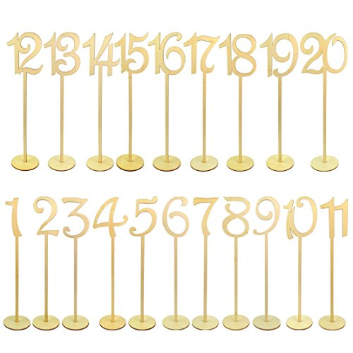 Jmkcoz 20pcs Table Numbers, 1 to 20 Wood Wedding Table Numbers with Sturdy Holder Base for Party Home Decoration Vintage Birthday Event Banquet Anniversary Decor Natural Wooden Catering Reception