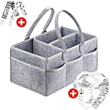 Putska Diaper Caddy Organizer Set: Portable Wipes Holder Bag for Changing Table and Car, Baby Nursery Essentials Storage Basket kit with 2 Pacifier Clips, 2 Bibs Image