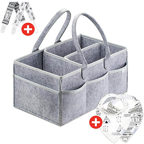 Putska Diaper Caddy Organizer: Portable Wipes Holder Bag for Changing Table and Car, Nursery Essentials Storage Basket–with 2 Pacifier Clips, 2 Bibs by Putska