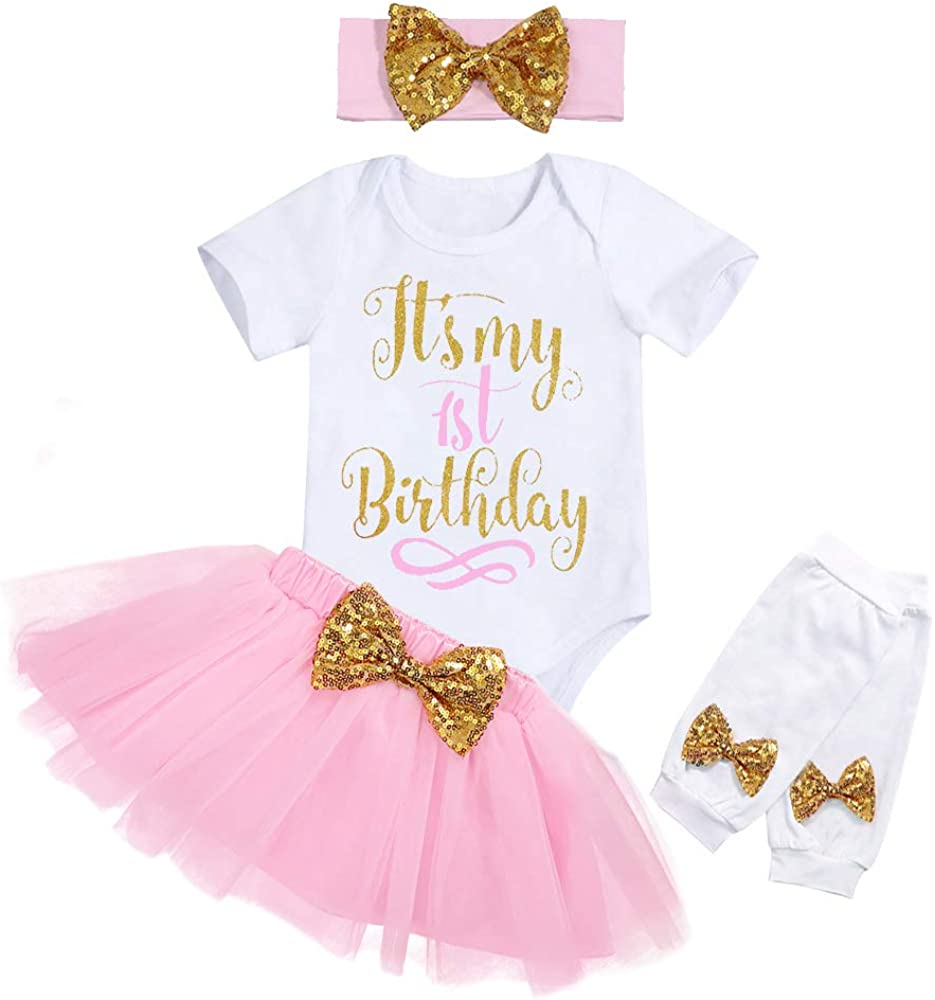 My 1st Birthday Baby Girl Romper & Tutu Skirt & Headband & Leg Warmer Outfit Set
