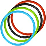 4 Pack Silicone Sealing Rings for Pressure Cooker Pot, FineGood 4 Colors 5/6qt Size Sweet and Savory Edition Accessory for Pressure Cooker - Red, Black, Blue, Green