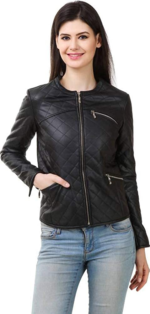 Black Trailblazerzz Womens Lambskin Leather Jackets