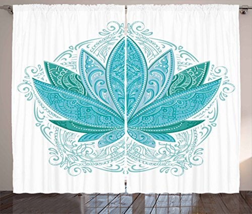 Ambesonne Lotus Curtains, Lotus Flower with Ornaments Exotic Petals Mehndi Traditional Boho Design, Living Room Bedroom Window Drapes 2 Panel Set, 108 W X 84 L Inches, Sky Blue