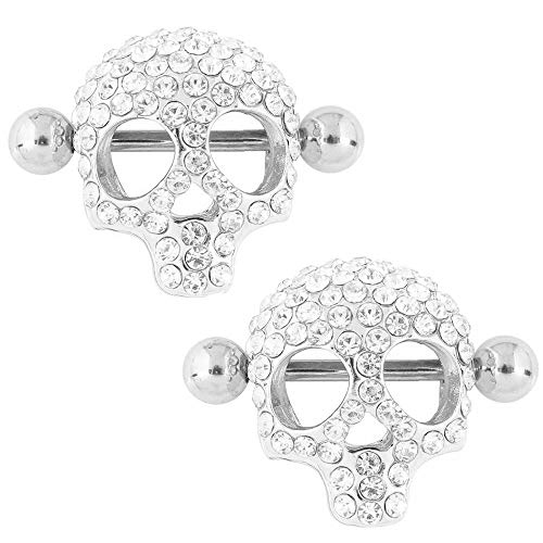 WOWOHE Nipple Rings, 3D Skull Shields Novelty Body Piercing Rings,Sold As a Pair (Silver) ()