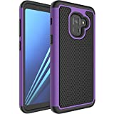 Samsung Galaxy A8 2018 Rugged Impact Heavy Duty (Drop Protection) Dual Layer Silicone Shock Proof Hard Case Cover Skin - Purple