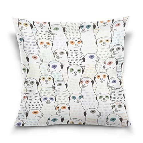 Top Carpenter Meerkat Pattern Velvet Plush Throw Pillow Cushion Case Cover - 20