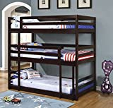 Coaster 400302, Triple Twin Bunk Bed with Multiple Configurations, Built-In Ladder and Solid