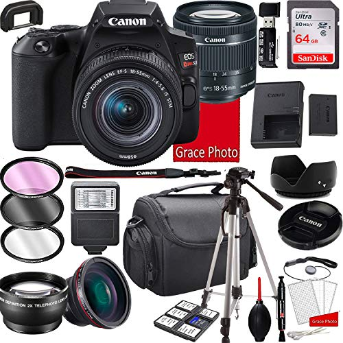 Canon EOS Rebel SL3 DSLR Camera with 18-55mm f/4-5.6 is STM Zoom Lens, 64GB Memory,Case, Tripod and More (28pc Bundle)