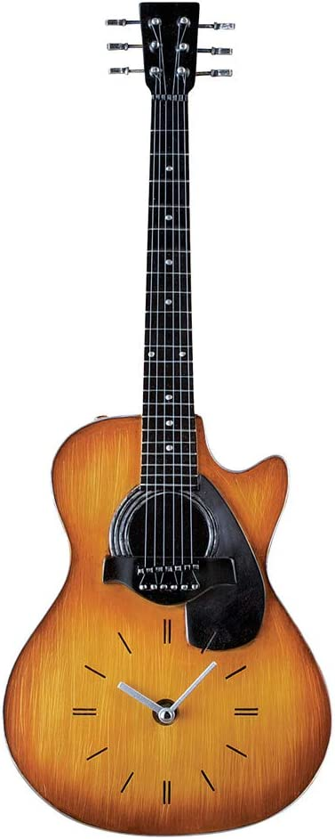 """Collections Etc Unique Realistic Guitar Clock Wall Decor - 21"""" H with Hook on Back for Easy Hanging, Gift Idea for Music Lover"""