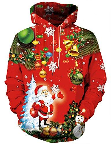 YAJOOEY Realistic 3D Print Galaxy Pullover Hooded Christmas Sweatshirt Hoodies with Big Pockets X-Large