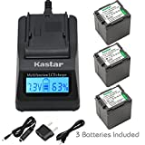 Kastar Ultra Fast Charger(3X faster) Kit and Battery (3-Pack) for Panasonic VW-VBG260 work with Panasonic AG-AC7, AG-AF100, AG-HMC40, AG-HMC80, AG-HMC150, HDC-HS250, HDC-HS300, HDC-HS700, HDC-SD600, HDC-SD700, HDC-SDT750, HDC-TM300, HDC-TM700, SDR-H80 Cameras [Over 3x faster than a normal charger with portable USB charge function]