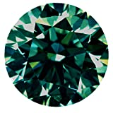 RINGJEWEL 3.00 CT VVS1 9.65 MM Round Cut Loose Real Moissanite Use 4 Pendant/Ring Blueish Green Color