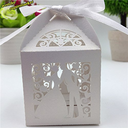 Zorpia 50PCS Laser Cut Bridegroom and Bride Wedding Box in Pearlescent Paper Box,Party Show Candy Box,Party Shower Gifts,Chocolate Box ZRA 0168909 (White)