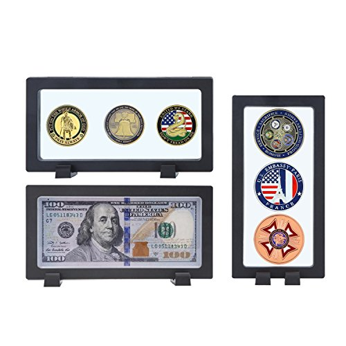 Allsum 3-Pack Challenge Coin 3D Display Stand Box (7.1 x 3.5, Black), Medallion Coin Dollar Bill Gemstone Lego Minifigures Jewelry Specimen Show Case, Double Sided Floating Display ()