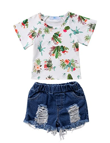 Little Baby Girls Short Sleeve Cactus T-Shirt Top and Holes Denim Shorts Outfit Set (1-2T, White)]()