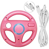 Steering Wheel for Wii U and Wii with Charging Cable, AFUNTA Racing Wheel Case for Mario Kart 8 Games, with 10ft USB Charger Cord - Pink , White