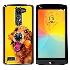Oro perro del labrador retriever del chocolate- Metal de aluminio y de plástico duro Caja del teléfono - Negro - LG L Prime / L Prime Dual Chip D337