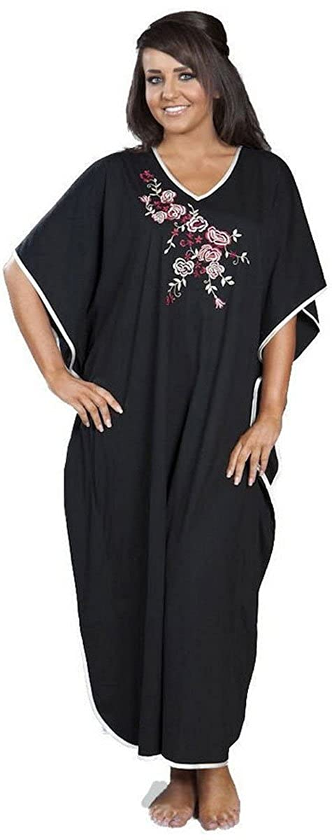 TALLA Talla única. La Marquise ropa de dormir de poliéster / algodón bordado Kaftan Tumbona Un tamaño