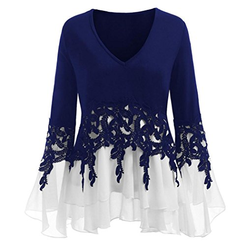 Womens Long Sleeve Plus Size Casual Applique Flowy Chiffon V-Neck Blouse Tops Blue