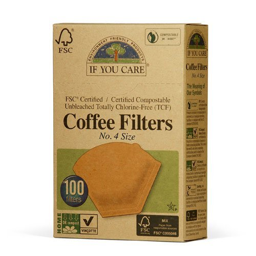 If You Care Unbleached Coffee Filters, 4 cone, 100 (Cone Filter Paper Natural)