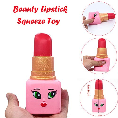 TrimakeShop Hot Soft Beauty Lipstick Slow Rising Squeeze Relieve Stress Toy