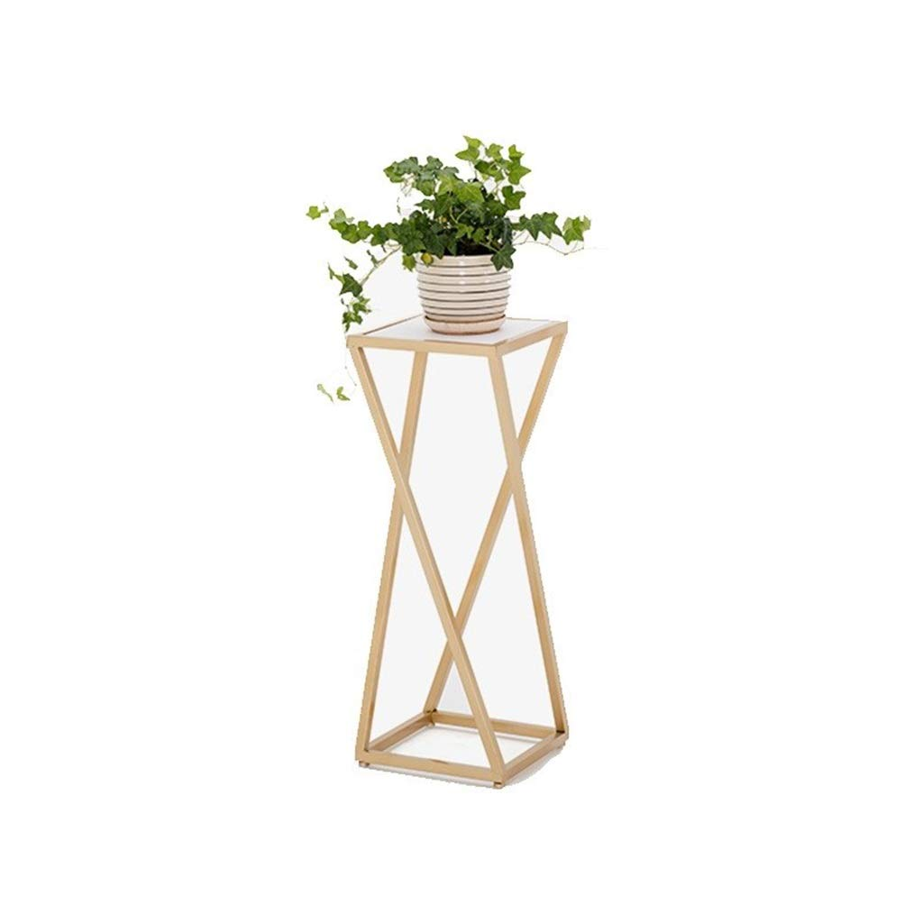 BENCONO Simple Wrought Iron Solid Wood Living Room Floor-Standing Flower Stand Balcony Gold Simple High and Low Display Flower Stand Combination (Color : Gold, Size : 80) by BENCONO