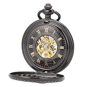ManChDa Reloj de Bolsillo Retro Negro Esqueleto Mecánico Caja Hueca 3D Tren de Vapor Ferrocarril Reloj de Bolsillo Números Romanos Steampunk Reloj Fob para Hombres Mujeres con Cadena + Caja de Regalo