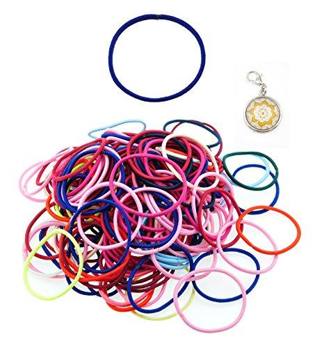 Mandala Crafts Bulk Metal Free Elastic Bands Hair Ties Ponytail Holders (2mm 200 pcs ()