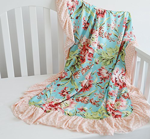 Sahaler Floral Minky Blanket Baby Girl Dot Ruffle Blankets Infants Toddlers Girl's Soft Throw Comfortable, (Coral - Aqua Crib Infant