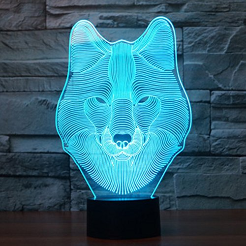 3D Wolf Lamp, YKL WORLD Wolf Night Light, Led Optical, used for sale  Delivered anywhere in USA