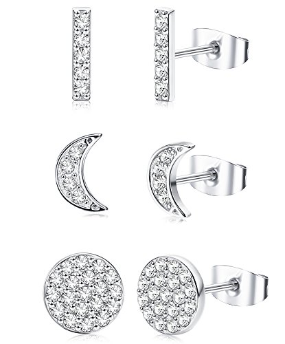 ORAZIO 3 Pairs 20G Stainless Steel Mini Bar Earring Line Ear Studs Stick Stud Earrings For Women and Men (D:Moon Silver-tone) ()