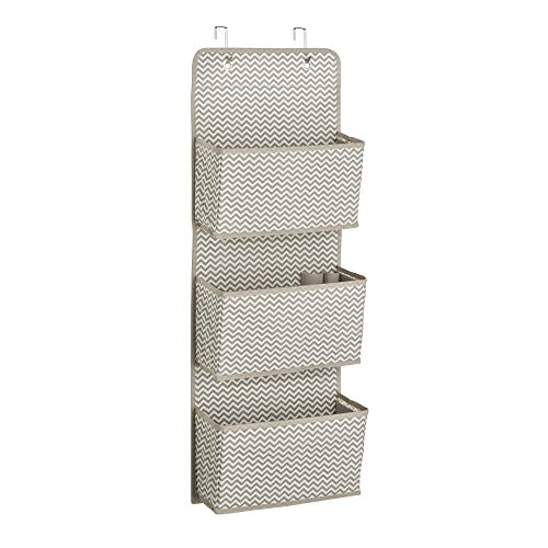 InterDesign Axis 3-Pocket Hanging Closet Organizer - Chevron Over Door Storage System, Taupe/Natural