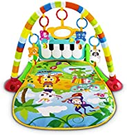 UNIH Baby Activity Gym Rack Piano Fitness Playmat with 5 Activity Sensory Toys Newborn Baby Activity Center fo