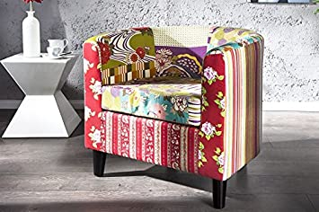 Dunord Design Sessel Clubsessel Patchy Patchwork Retro Design Möbel