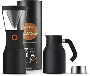 Asobu Coldbrew Portable Cold Brew Coffee Maker With a Vacuum Insulated Stainless Steel 18/8 Carafe with Pouring Handle (Black)