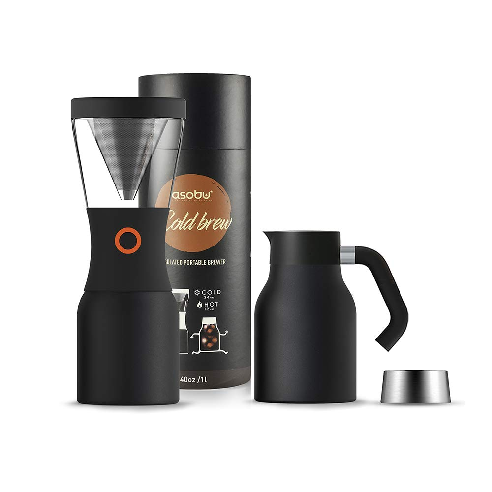Asobu Coldbrew Portable Cold Brew Coffee Maker With a Vacuum Insulated Stainless Steel 18/8 Carafe with Pouring Handle (Black) by asobu