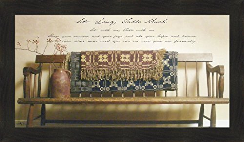 (Sit Long, Talk Much by Billy Jacobs 20x34 Bench Afghan Friendship Friends Country Primitive Folk Art Photography Framed Picture)