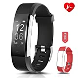 Fitness Tracker - Ronten R2 Plus Heart Rate Monitor Waterproof Activity Tracker - Bluetooth Wireless Smart Bracelet with Replacement Strap for Android and IOS Smartphones (black+red(band))
