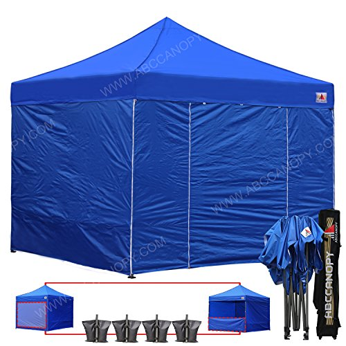 (18+ colors)AbcCanopy Commercial 10×10 Ez Pop up Canopy, Party Tent, Fair Gazebo with 6 Zipped End Sidewalls and Roller Bag Bonus 4x Weight Bag (royal blue)