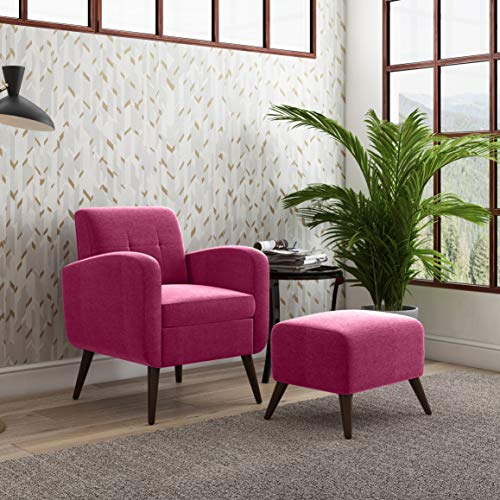 Domesis Arm Chair and Ottoman in Bright Pink Plush Low-Pile Velvet