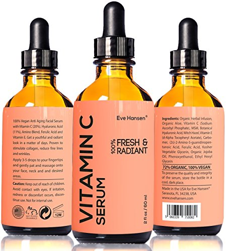 2 oz Vitamin C Serum - Facelift in a Bottle #1 - 100% Vegan Anti Aging Facial Serum - SEE RESULTS OR - Big 2 ounce (Twice the Size) with the Same Premium Ingredients.