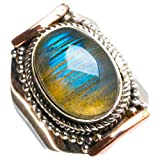 Natural Blue Fire Labradorite Handmade Unique 925 Sterling Silver Ring 6.75 Y4656