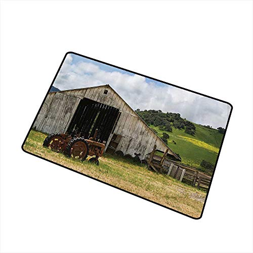 (Jbgzzm Fashion Door mat Farm House Decor Collection Old Wooden Barn with Rusted Tractor on Hillside Enclosed with Wooden Fence and Trees W16 xL20 Super Absorbent mud Green White)