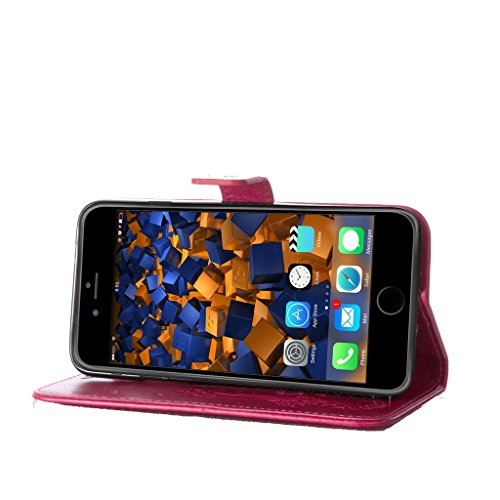 """iPhone 7 Hülle Rot , Leathlux Vintage Blume Muster Premium PU Leder Schutzhülle Bookstyle Tasche Schale TPU Case mit Trageschlaufe Standfunktion für iPhone 7 4.7"""""""